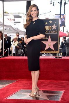 Actress Amy Adams wore a black Giorgio Armani dress to be honored with her Star on the Hollywood Walk of Fame in Hollywood, California. #ArmaniStars