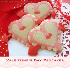 Make something sweet for breakfast this Valentine's Day with heart pancakes! The talented Jenni Price is back with another super cute pancake design to turn your holiday into something special. This fun recipe requires just a Valentines Day Treats, Valentine Day Crafts, Love Valentines, Valentine Heart, Valentines Breakfast, Birthday Breakfast, Biscotti, Pancake Designs, Heart Shaped Pancakes