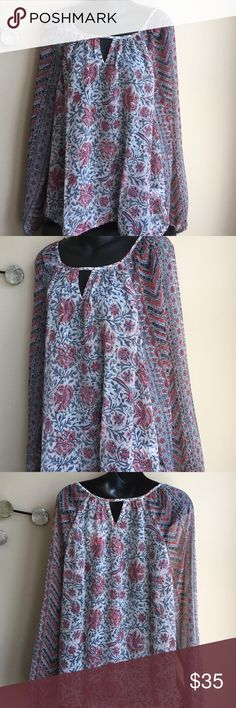 Lucky brand top Brand new with tag . Bottom of the blouse has elastic . Blouse is sheer . Polyester Lucky Brand Tops Blouses