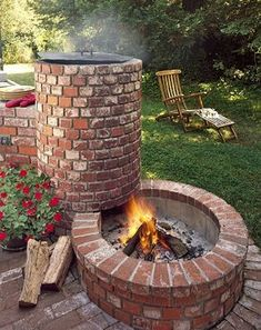 built in fireplace / custom landscaping #outdoorfireplace