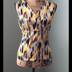"""Kasper Lined Yellow Multicolor V neck  Top Yellow, Gold, Navy, Black While Beige, Gray and Steel Blue. Fully lined. Excellent condition and quality. 17"""" Bust, 22"""" Length. 100% Polyester. Dry Clean. Kasper Tops"""