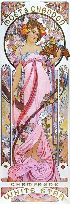moet and chandon vintage ads/posters | Moet Chandon White Star By Alphonse Mucha AAM073 Art Print Canvas A4 ...