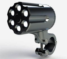 設計成手槍轉輪造型的防盜腳踏車燈