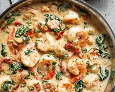 Creamy Garlic Butter Tuscan Shrimp coated in a light and creamy sauce filled wit. - Creamy Garlic Butter Tuscan Shrimp coated in a light and creamy sauce filled with garlic, sun dried - Shrimp Dishes, Fish Dishes, Shrimp Meals, Seafood Meals, Seafood Boil, Seafood Buffet, Low Carb Recipes, Cooking Recipes, Healthy Recipes