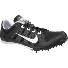 Nike Zoom Rival MD 7, Style# 616312-010, Black/White, SZ 7. Conquer mid-distance races by wearing the Nike Zoom Rival MD 7 track spike. Made with lightweight mesh and synthetic leather, the Rival MD 7's upper keeps your feet light, cool, and dry. Dynamic midfoot bands lock the foot down, ensuring a secure fit so you can focus on speed. Responsive Phylon™ heel provides excellent protection against heel impact as the forefoot Pebax® plate delivers race-winning traction. Includes 7mm spikes…