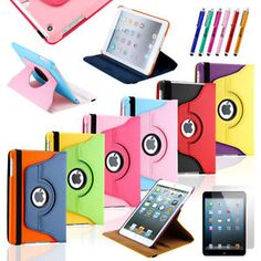 360 Degree Rotating PU Leather Case Cover w Stand For Apple iPad Mini 1 2 3 G