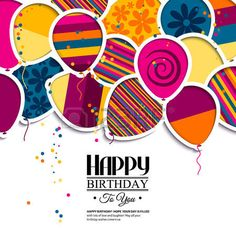 Vector birthday card with paper balloons in the style of cutouts  Stock Vector