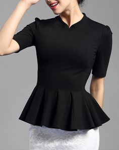 Black Half Sleeve Ruffled Sheath Elegant Blouse, Black, BAOYAN | VIPme