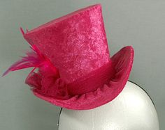 Mini Top Hat Mad Hatter Hat Derby Race Hat Fascinator Hat Hot Pink Leopard Print Feather Party Cosplay Costume Headpiece FREE USA SHIPPING