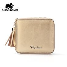 76ef5593bde2c BISON DENIM Women Purse Holders Cowhide Genuine Leather Women Wallet Tassel  Zipper Purse Photo Slot Luxury Women Wallet N9336