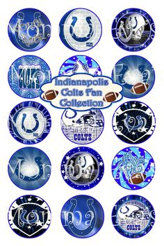 Momma Eva's -- Indianapolis Colts SUPER Fan Inspired Collection  / 4 x 6  / 1 in Circles /  Bottle Caps  Hair Bows / Shop SALE on IMAGES. $1.75, via Etsy.
