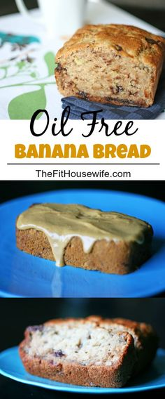 Oil Free Banana Bread. A healthy and simple snack recipe. From The Fit Housewife. 21 Day Fix: 1/2 slice = 1 yellow