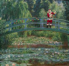 in this humorous series of self-portraits, 'santa classics' by american artist ed wheeler, steps into the masterworks of art, dressed as the iconic santa claus.