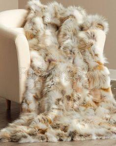 Ritzy Pieced Coyote Fur Throw/Blanket