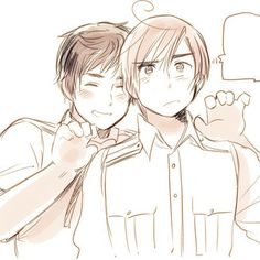 Spain and Romano Spamano, Usuk, Aph Romano, Hetalia Fanart, Hetalia Manga, Hetalia Characters, Hetalia Axis Powers, Poses, Anime Shows