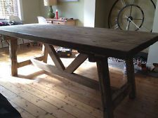 BEAUTIFUL RUSTIC OLD WORLD RECLAIMED TIMBER TRESTLE TABLE AND BENCHES