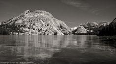 Lake Ice, Hills, Reflection, BW