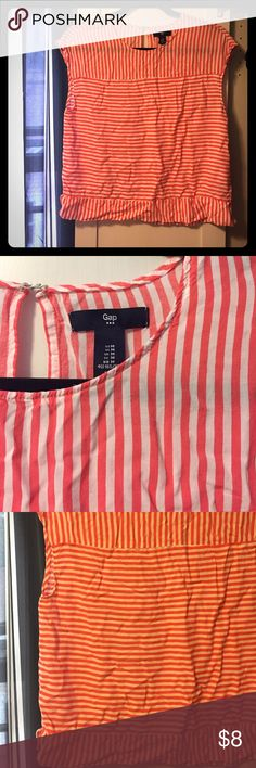 Adorable Gap blouse This is so fun! Coral and white striped blouse with key hole in back. Perfect condition, just needs to be thrown in the dryer for a few minutes or ironed! GAP Tops Blouses
