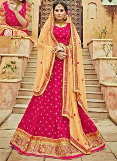 Magenta Cream Embroidery Work Bhagalpuri Silk Designer Wedding Lehenga Choli
