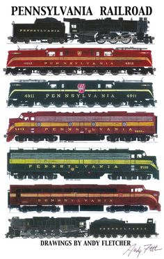 7 hand draw Pennsylvania locomotive drawings by Andy Fletcher