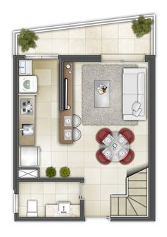 Small Apartment Interior, Apartment Layout, Apartment Plans, Studio Apartment, Tiny House Layout, Tiny House Design, House Layouts, Home Design Plans, Home Office Design