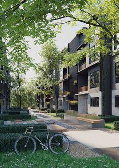 Colour Architecture, Landscape Architecture Design, Landscape Concept, Urban Landscape, Adobe Photoshop, Urban Design Diagram, Residential Landscaping, Courtyard Design, Centre Commercial