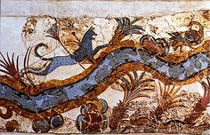 Bronze age Etruscan: Nilotic Landscape Fresco with Cat and Goose from Akrotiri, Thera