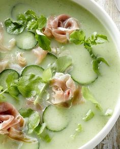 Komkommersoep met ham Easy Healthy Recipes, Easy Meals, Deli Food, Healthy Slow Cooker, Soup And Sandwich, Homemade Soup, Fresco, Italian Recipes, Food Inspiration