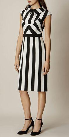 >> Click to Buy << Fashion Strip Print Women Sheath Dress Peter Pan Collar Work Dresses 109A710B1 #Affiliate