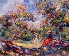 Pierre-Auguste Renoir, Femme au jardin- Woman in a landscape on ArtStack #pierre-auguste-renoir #art