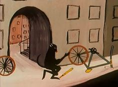 "Still from René Laloux's ""Les Dents Du Singe"" an animation about monkeys, teeth and bicycles filmed in 1960"