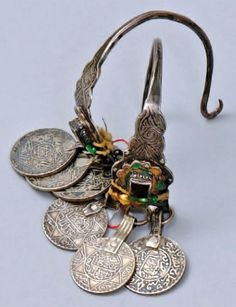 Morocco | Pair of earrings; silver with enamel and each with 3 coins, one of which is dated 1320H (1902) | 450€ ~ sold (June '10)
