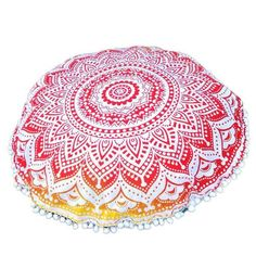 Ikevan Large Mandala Floor Pillows Case Round Bohemian Meditation Cushion Cover Ottoman Pouf Pillowcase (E) Large Floor Pillows, Round Floor Pillow, Floor Cushions, Throw Cushions, Decorative Throw Pillows, Meditation Cushion, Mandala Print, Pouf Ottoman, Home Textile