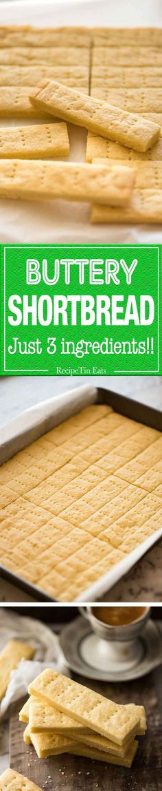 Shortbread Cookies should be sinfully buttery and delectably tender! Just flour, butter and sugar is all you need. www.recipetineats