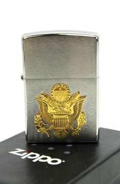 US Army Gold Eagle Crest Emblem on Silver Two-Tone Zippo Lighter #weboys10
