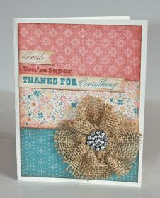 Karen Pedersen: Thank You Card with Clementine Paper and Burlap Ribbon