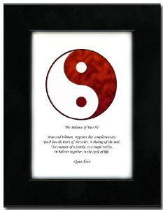 "5x7 Black Satin Frame with Yin Yang (Red/White) by Oriental Design Gallery. $31.95. Each print is mounted on acid-free mat board by using acid free adhesive. Place on Wall or Desk. Made in USA. Easel and hangers included. Wall Hangers must be installed by customer. Instructions included. Frame is made of eco-friendly composite wood materials. This is a Yin Yang Print with an original Chinese Proverb written by Qiao Xiao. The proberb is entitled ""The Balance of Tiao He"",..."