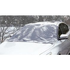 Less icy scraping means warmer hands and more time for winter fun. This Windshield Snow Cover eliminates ice and snow removal by keeping your windshield clear in freezing weather. Six attached magnets and under-door side flaps securely hold the water-repellent cover to your parked vehicle. Also protects wiper blades and fluid dispensers from the elements. Comes in two sizes for car or SUV.