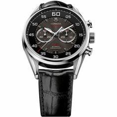 http://www.horloger-paris.com/fr/407-tag-heuer-carrera  Tag Heuer Carrera Chronographe Calibre 36 Flyback Racing 43mm - Acier, cadran noir et gris, bracelet cuir : CAR2B10.FC6235