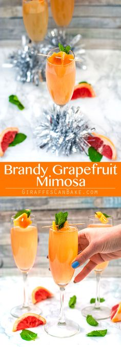 This Brandy Grapefruit Mimosa is the only holiday champagne cocktail you need this festive season! It is perfect to serve for Christmas Brunch! via @giraffescanbake