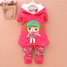 http://babyclothes.fashiongarments.biz/  New Children Clothes Girl winter Clothing Set Cartoon flower Hoodies + Leggings 2pcs Kids Suit Thicken Add Wool Children's suit, http://babyclothes.fashiongarments.biz/products/new-children-clothes-girl-winter-clothing-set-cartoon-flower-hoodies-leggings-2pcs-kids-suit-thicken-add-wool-childrens-suit/,  S size : coat length is 36cm,bust is 26X2cm,sleeve length is 29cm,pants length is 42cm,s is fit for 70-80cm height. M size : coat length is 38cm,bust…