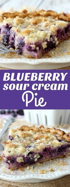 My family loves this Blueberry Sour Cream Pie! This creamy filling and the crumbly topping are just so good! My family loves this Blueberry Sour Cream Pie! This creamy filling and the crumbly topping are just so good! 13 Desserts, Delicious Desserts, Dessert Recipes, Yummy Food, Recipes Dinner, Sour Cream Desserts, Unique Desserts, Health Desserts, Sour Cream Cookies