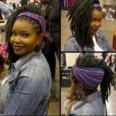 Try a quick updo with your locs using one of these colorful headbands from  @Thenaturalme2011! Model- @mzbrownskinladii www.TheNaturalMeOnline.com