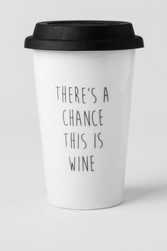 """There's a chance this is wine""<br /> <br /> This funny ceramic travel mug will brighten up your morning while keeping your coffee hot! Give this mug to one of your girlfriends as a cute & humorous gift. <br /> <br /> - Double walled to keep drinks hot<br /> - 8 oz. ceramic cup with silicon lid<br /> - Dishwasher and microwave safe<br /> - Imported<br />"
