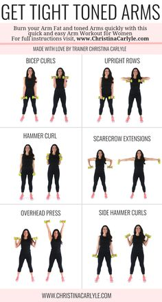 Arm workout for women & Best Arm Exercises for women that want tight toned arms. This arm workout routine was made with some of the& The post Arm Workout for Women that Want Tight Toned Arms appeared first on Griffith Diet and Fitness. Musa Fitness, Body Fitness, Workout Fitness, Fat Workout, Fitness Watch, Barre Arm Workout, Easy Arm Workout, Free Weight Arm Workout, Plus Size Workout