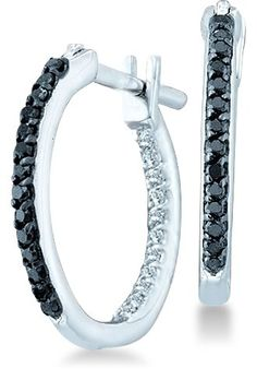 14k White Gold Two Double Sided Back and Front Round Black and White Diamond Hoop Huggie Earrings – 15mm Height * 2mm Width (1/4 cttw)	by Sonia Jewels - See more at: http://blackdiamondgemstone.com/jewelry/earrings/hoop/14k-white-gold-two-double-sided-back-and-front-round-black-and-white-diamond-hoop-huggie-earrings-15mm-height-2mm-width-14-cttw-com/#sthash.0akNx2O4.dpuf