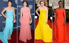 O colorido também teve sua vez no red carpet. Nikki Reed, Sarah Hyland, Lena Dunham e Lupita Nyong'o apostaram.