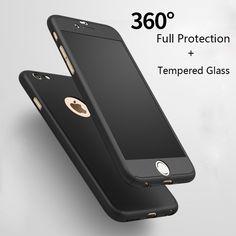 ファッションハードマットケースのためのiphone 6 case 6 sプラスiphone 7 caseプラス360度フルカバープラスチック強化ガラス電話ケース