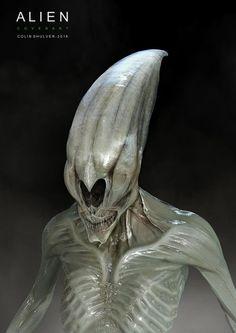 Early Neomorph Concept Art for Ridley Scott's Alien Covenant, COLIN SHULVER on ArtStation at https://www.artstation.com/artwork/JVOzZ