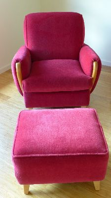 heywood-wakefield margaret club chair & ottoman